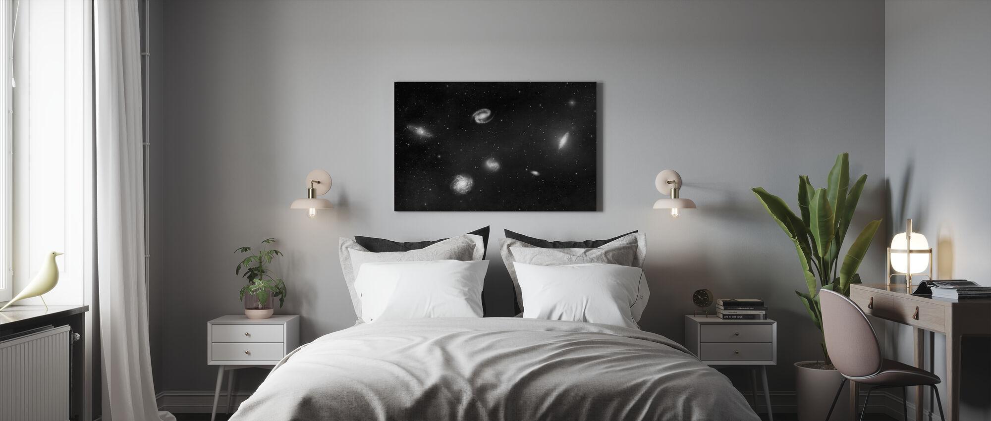 Dunkelste Dunkelheit - Galaxien Mono - Leinwandbild - Schlafzimmer