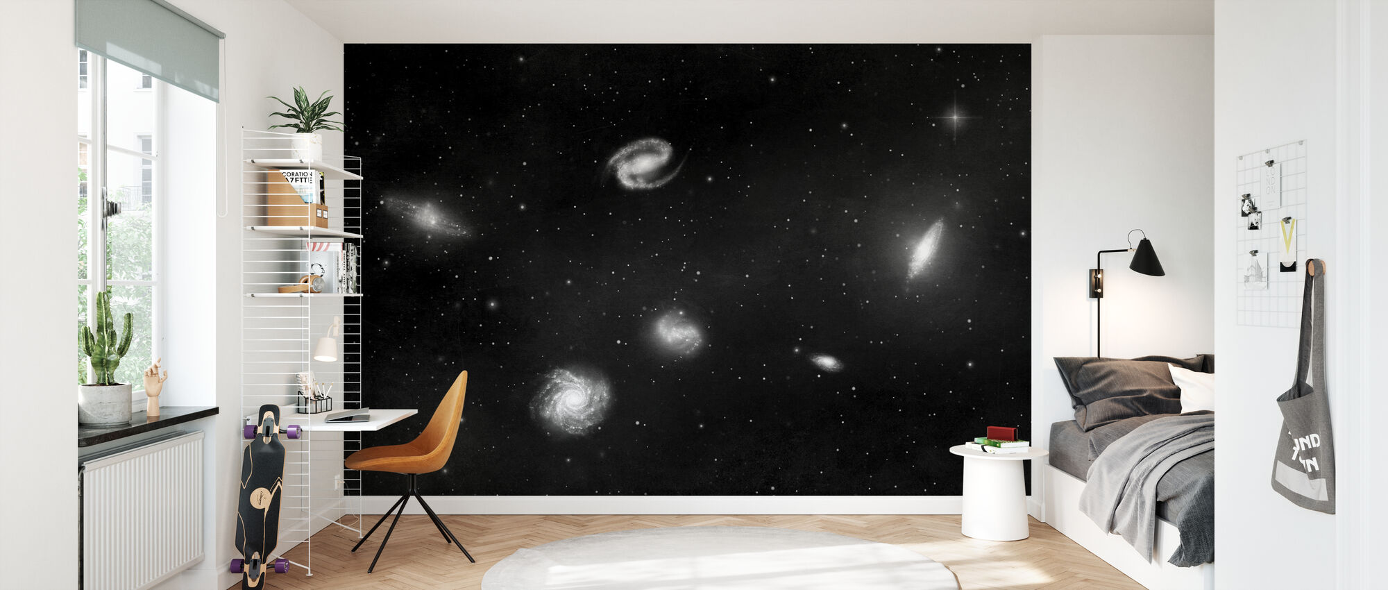 Darkest Dark - Galaxies Mono - Wallpaper - Kids Room