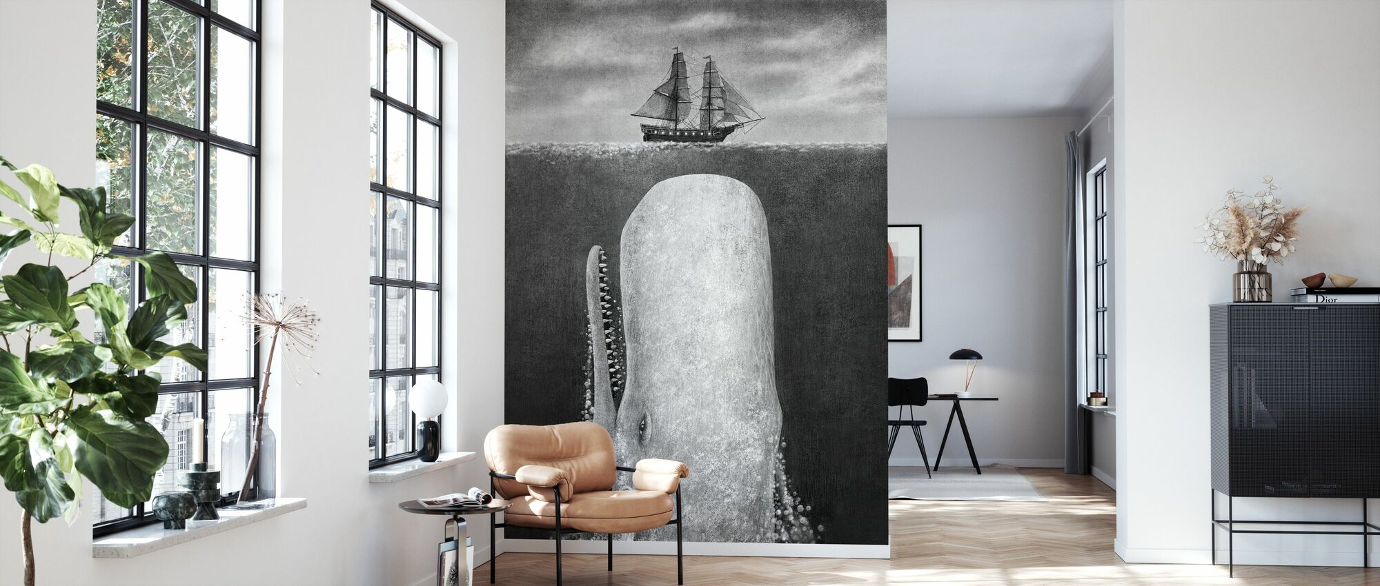 Whale - Wallpaper - Living Room