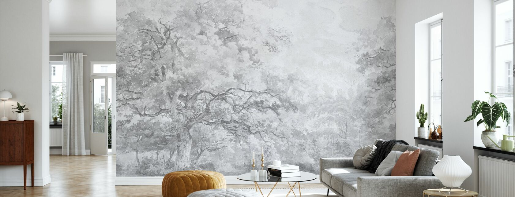 Beauty Everywhere - Grey - Wallpaper - Living Room