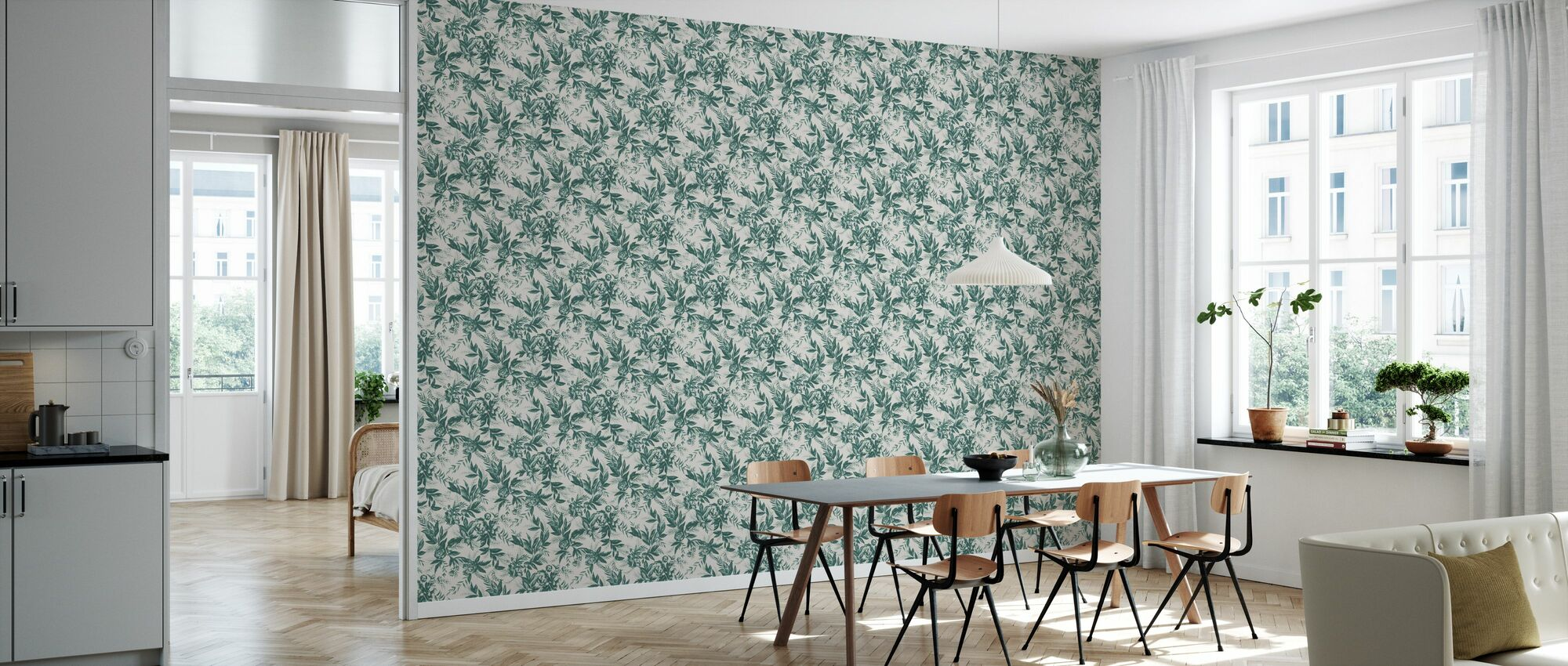 Forgotten Beauty - Dark Green - Wallpaper - Kitchen