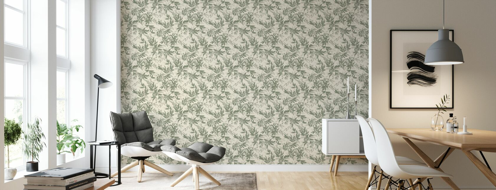 Forgotten Beauty - Green and Cream - Wallpaper - Living Room