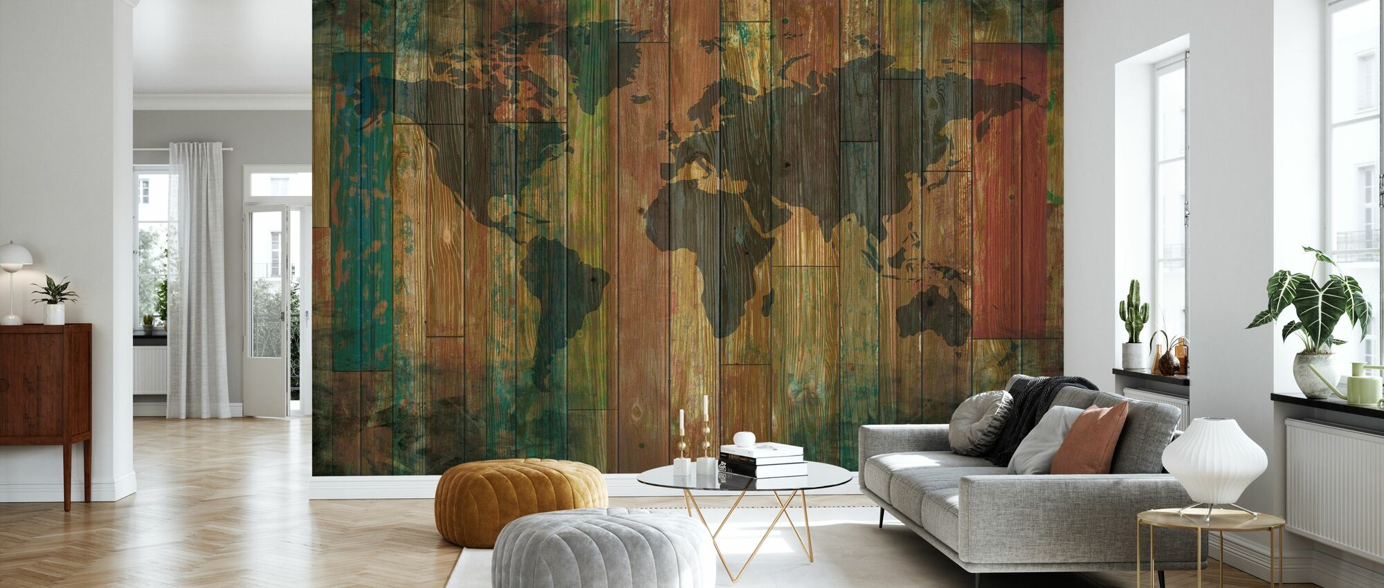 Plank Wall Map - Tapete - Wohnzimmer