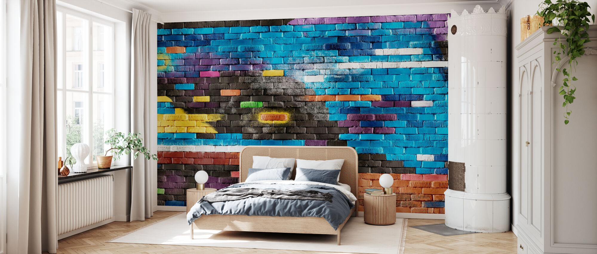 Colorful Brick Wall - Wallpaper - Bedroom