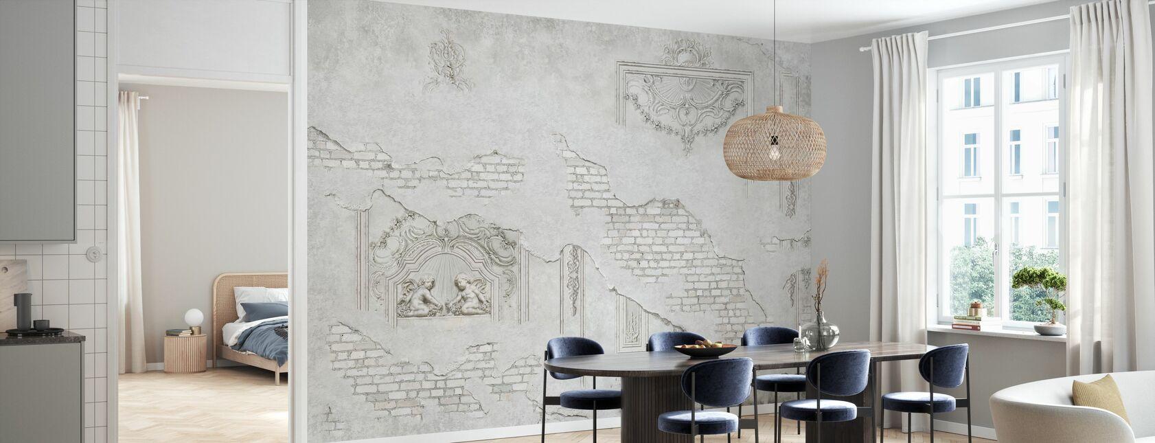 Muro di mattoni ornamento in gesso incrinato - Carta da parati - Cucina