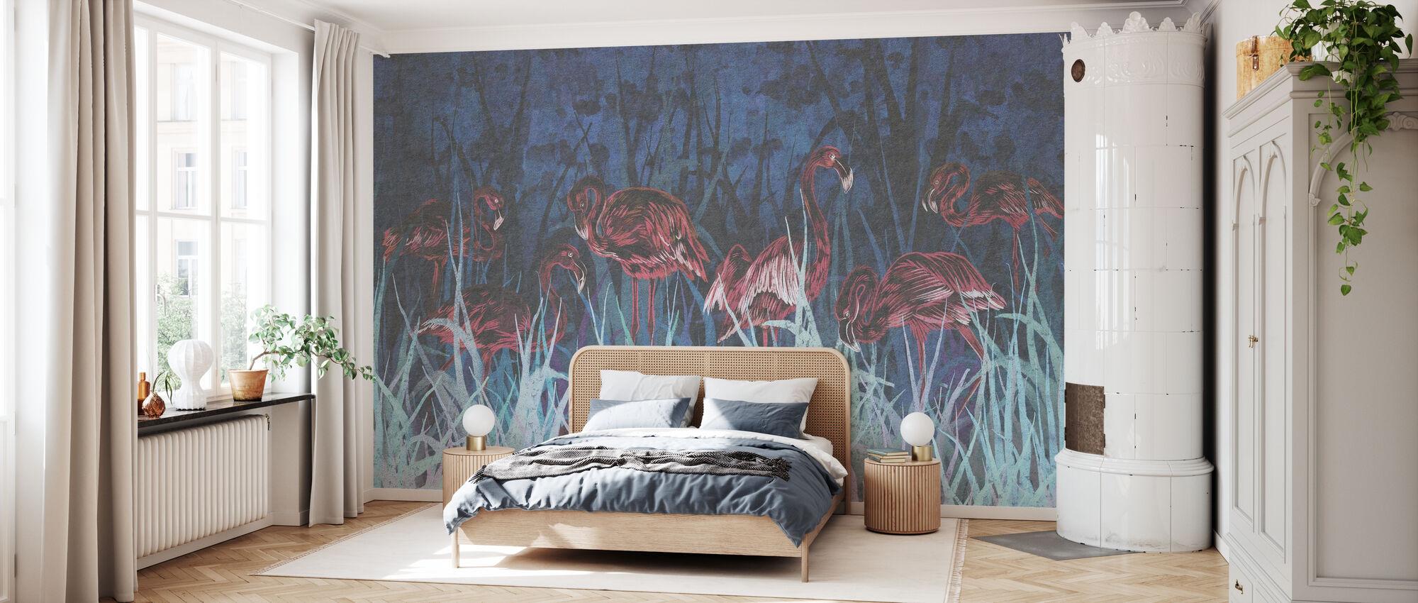 Flamingos in the Blue - Wallpaper - Bedroom