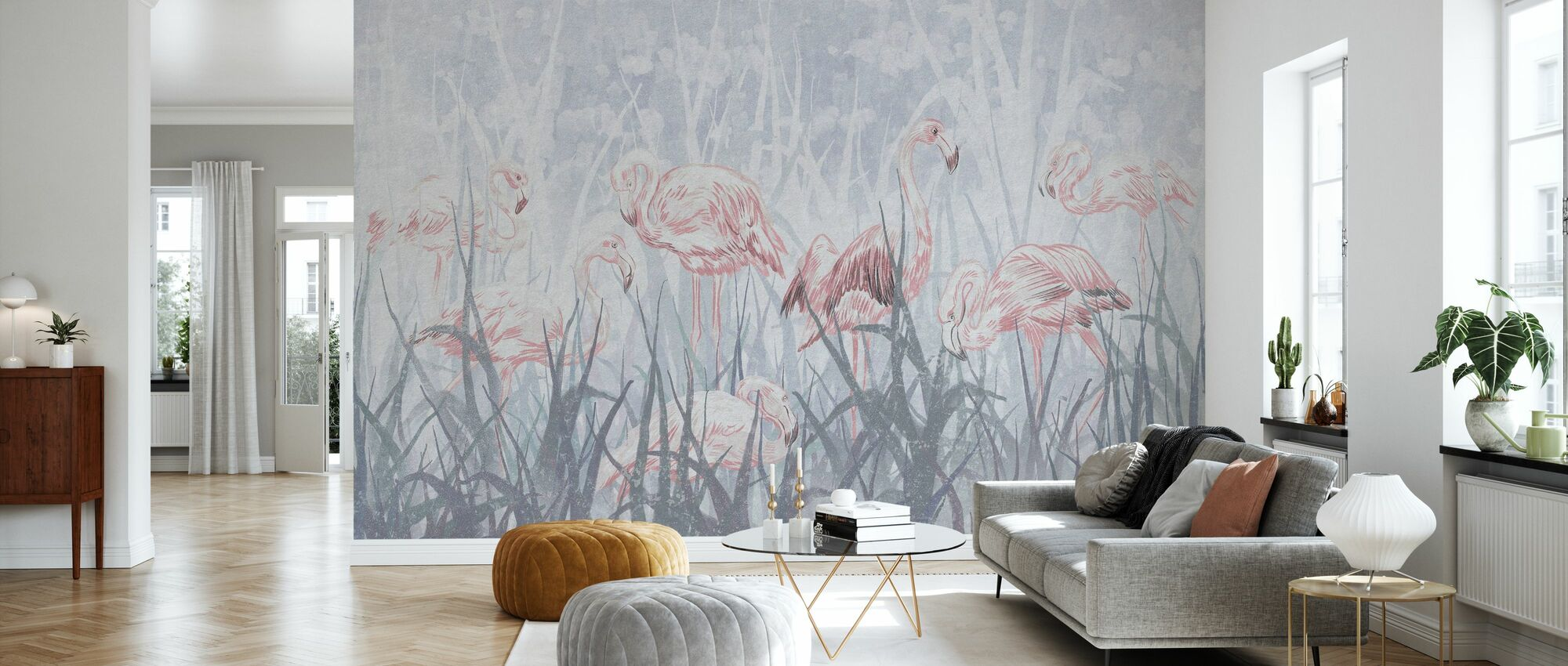 Flamingos in the Grass - Gray - Wallpaper - Living Room