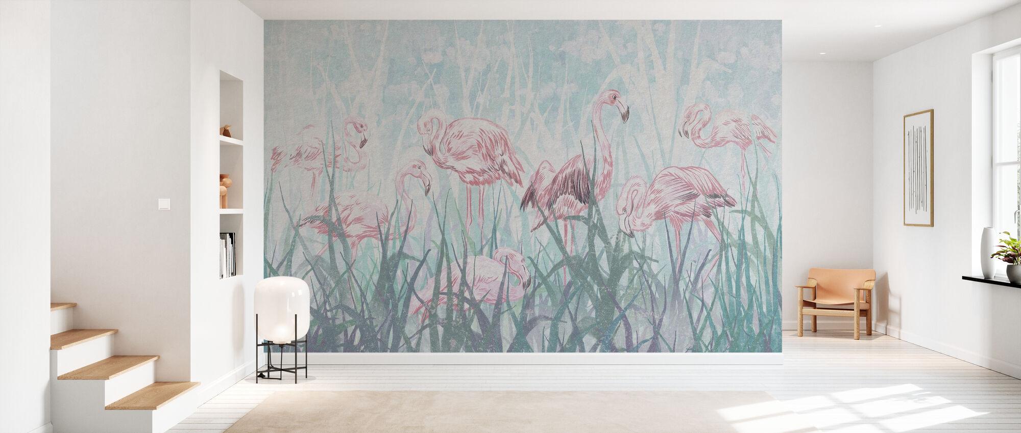 Flamingos in the Grass - Wallpaper - Hallway