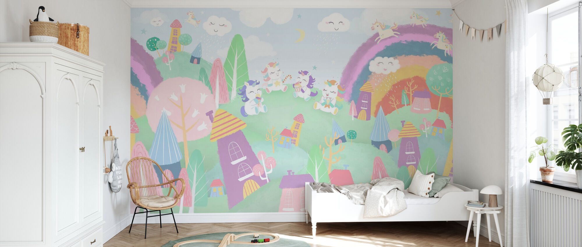 Unicorn Village - Wallpaper - Kids Room