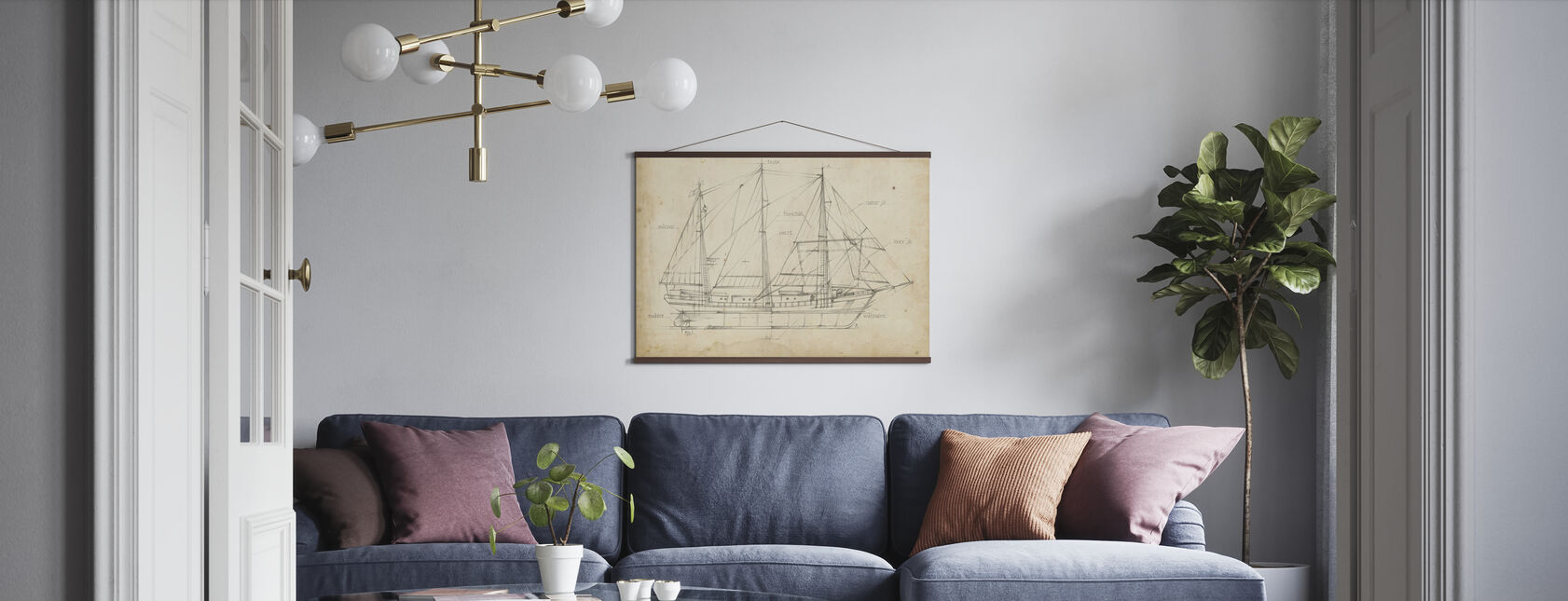 Sailboat Blueprint - Poster - Living Room