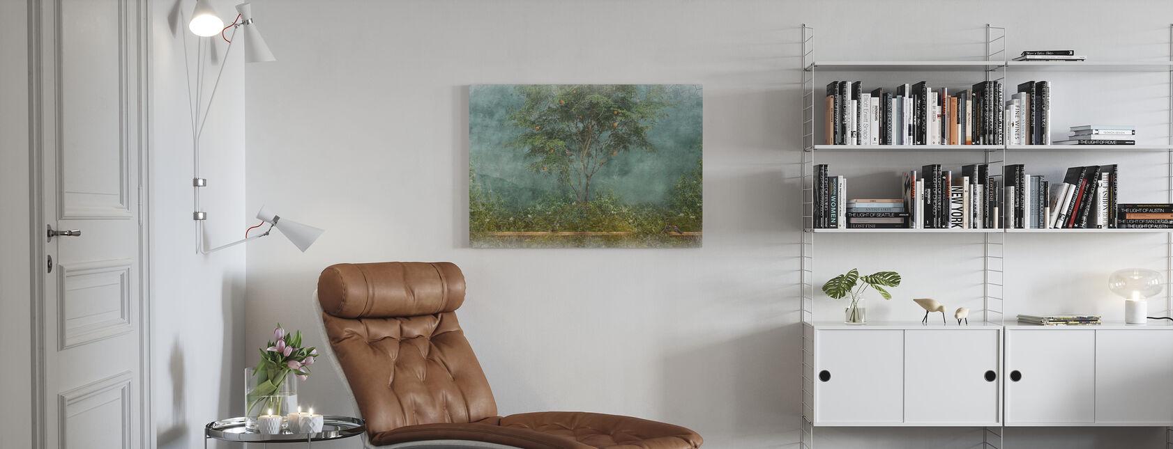 Stary postrzępiony pomalowany mur - Obraz na płótnie - Pokój dzienny