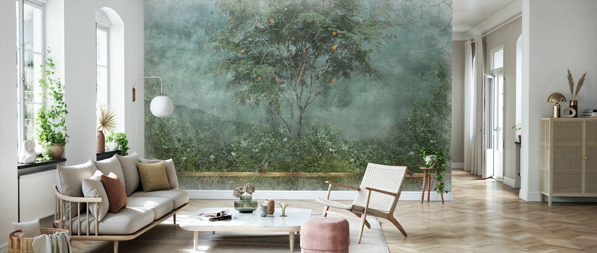 Alte ausgefranste gemalte Wand II - Tapete - Wohnzimmer
