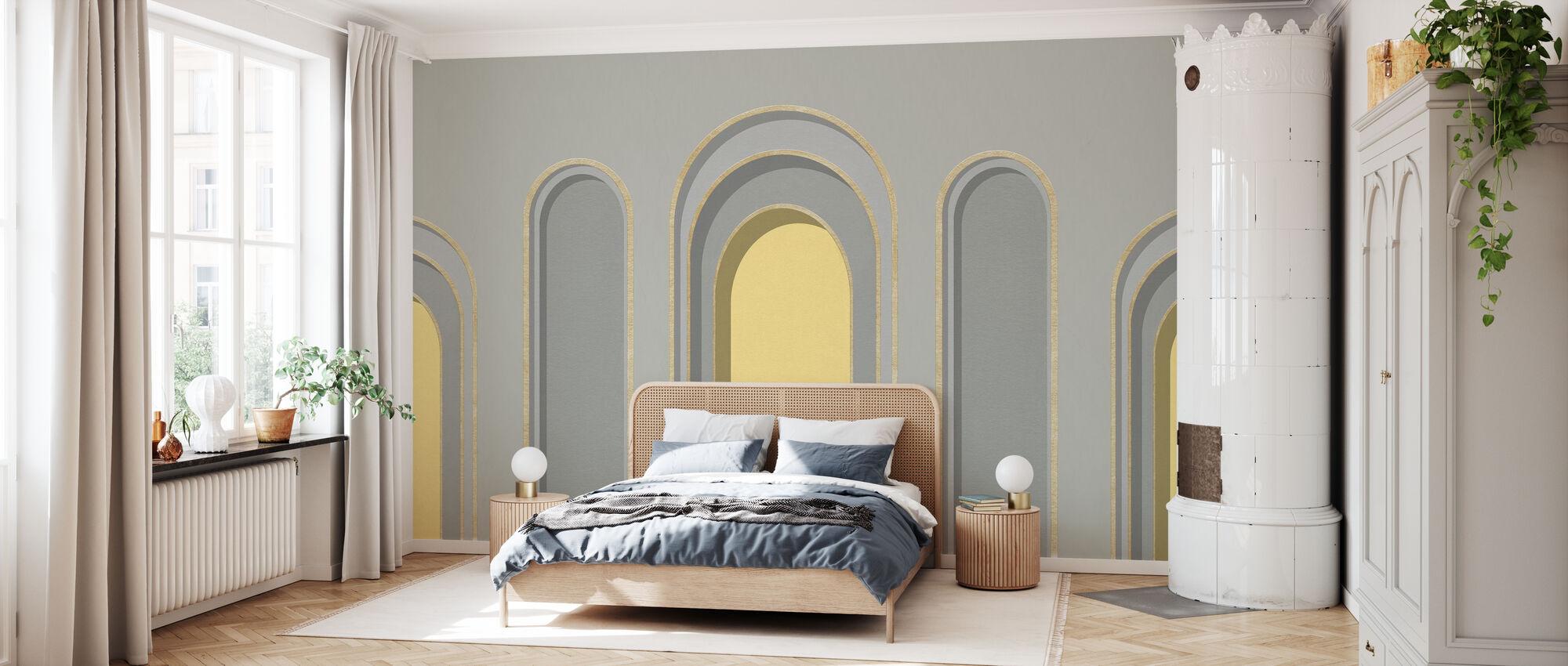 Arch Adornment - Gray Yellow - Wallpaper - Bedroom