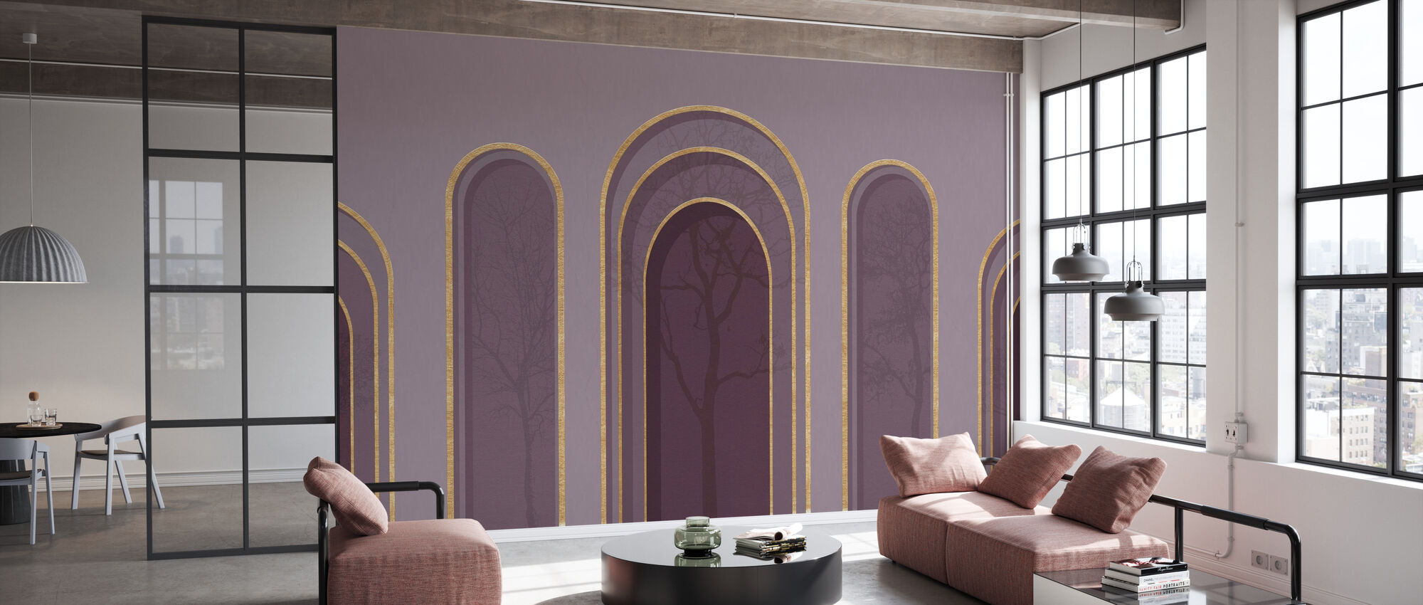 Arch Adornment with Trees - Violet - Wallpaper - Office