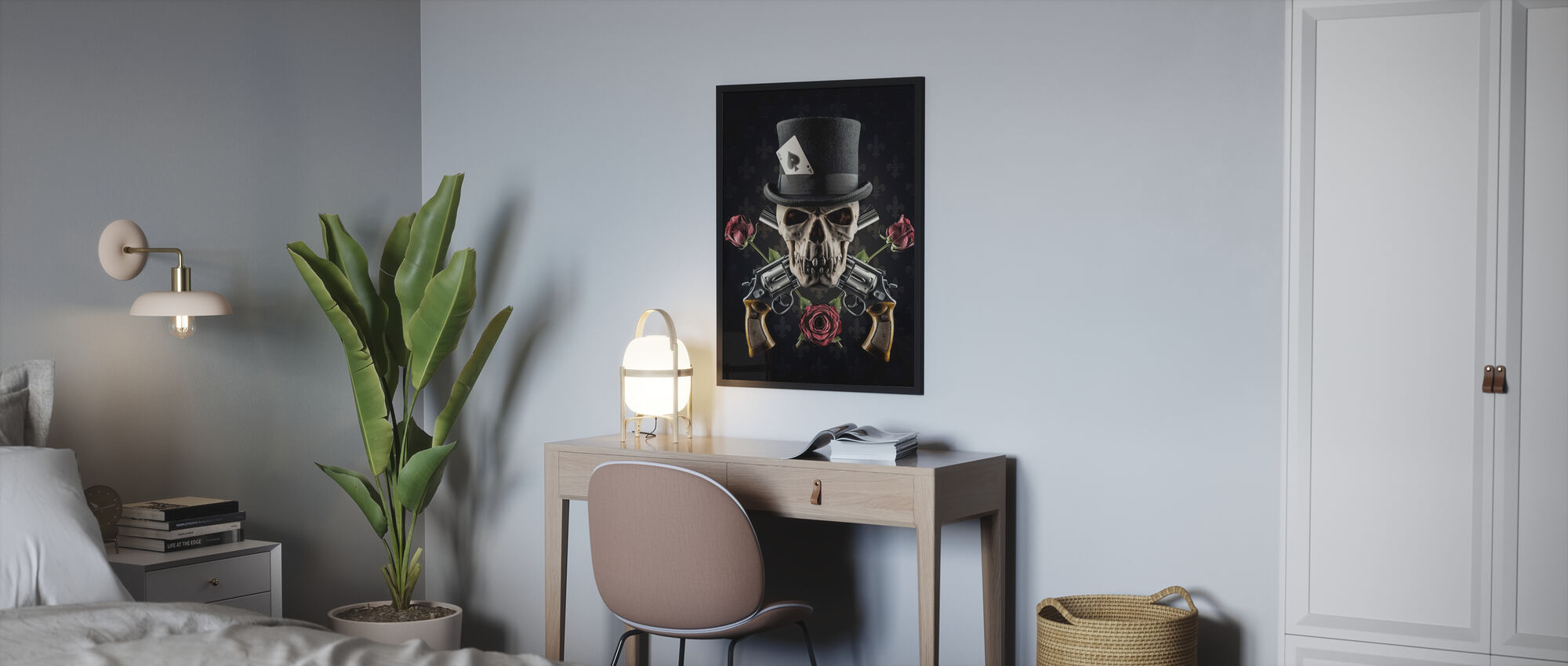 Revolver und Schädel - Poster - Schlafzimmer