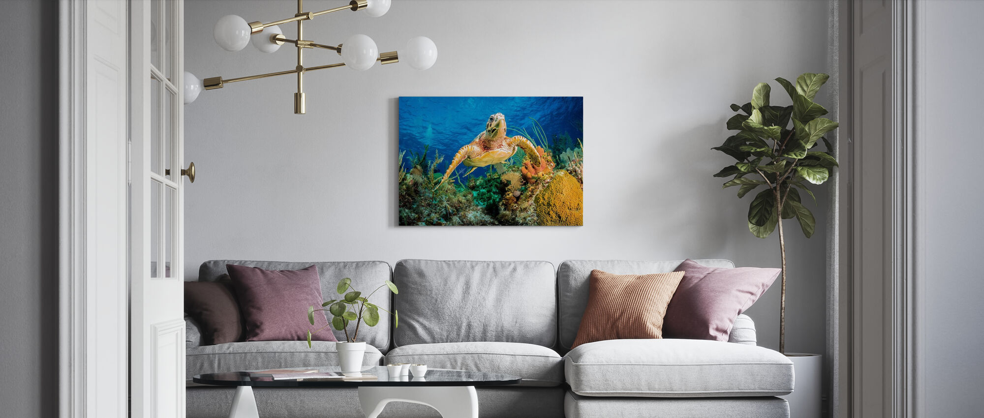 Hawksbill Turtle Swimming - Canvas print - Living Room