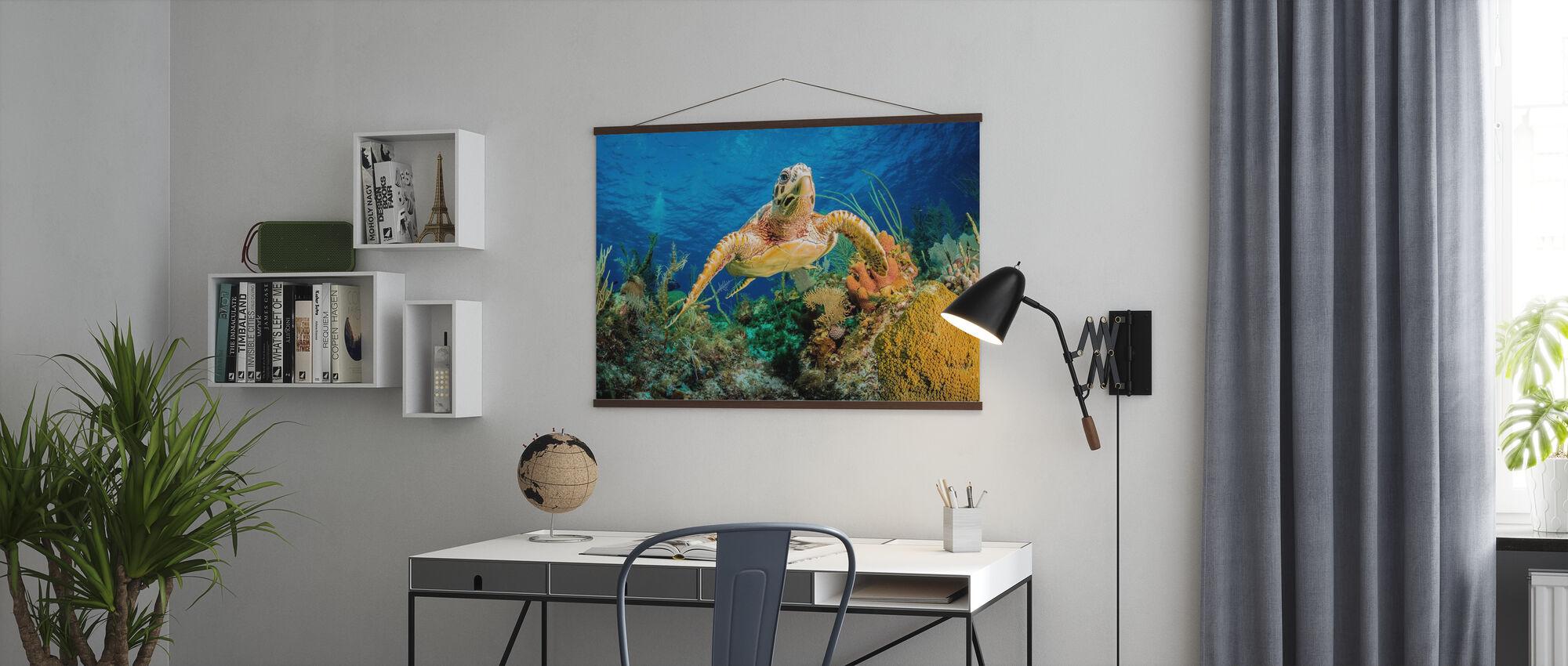 Hawksbill schildpad zwemmen - Poster - Kantoor