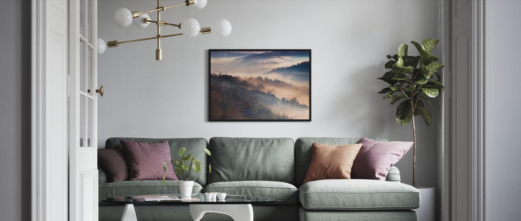 Nebelgebirge - Gerahmtes bild - Wohnzimmer
