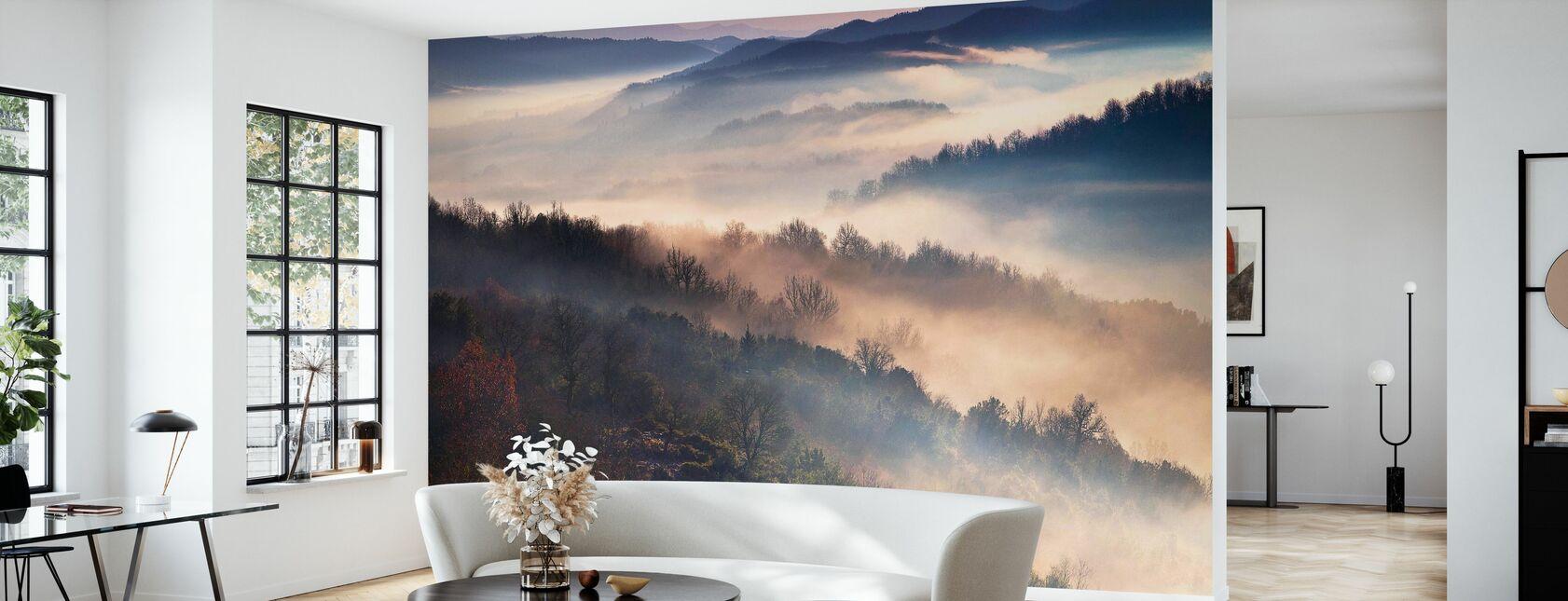Montagnes brumeuses - Papier peint - Salle à manger