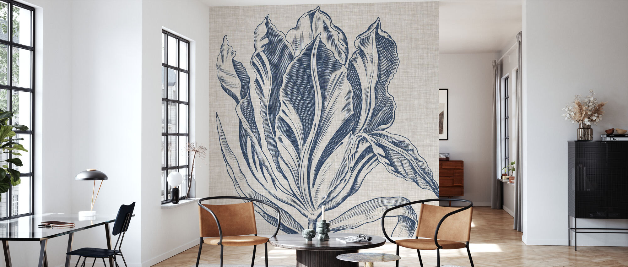 Indigo Floral on Linen - Wallpaper - Living Room