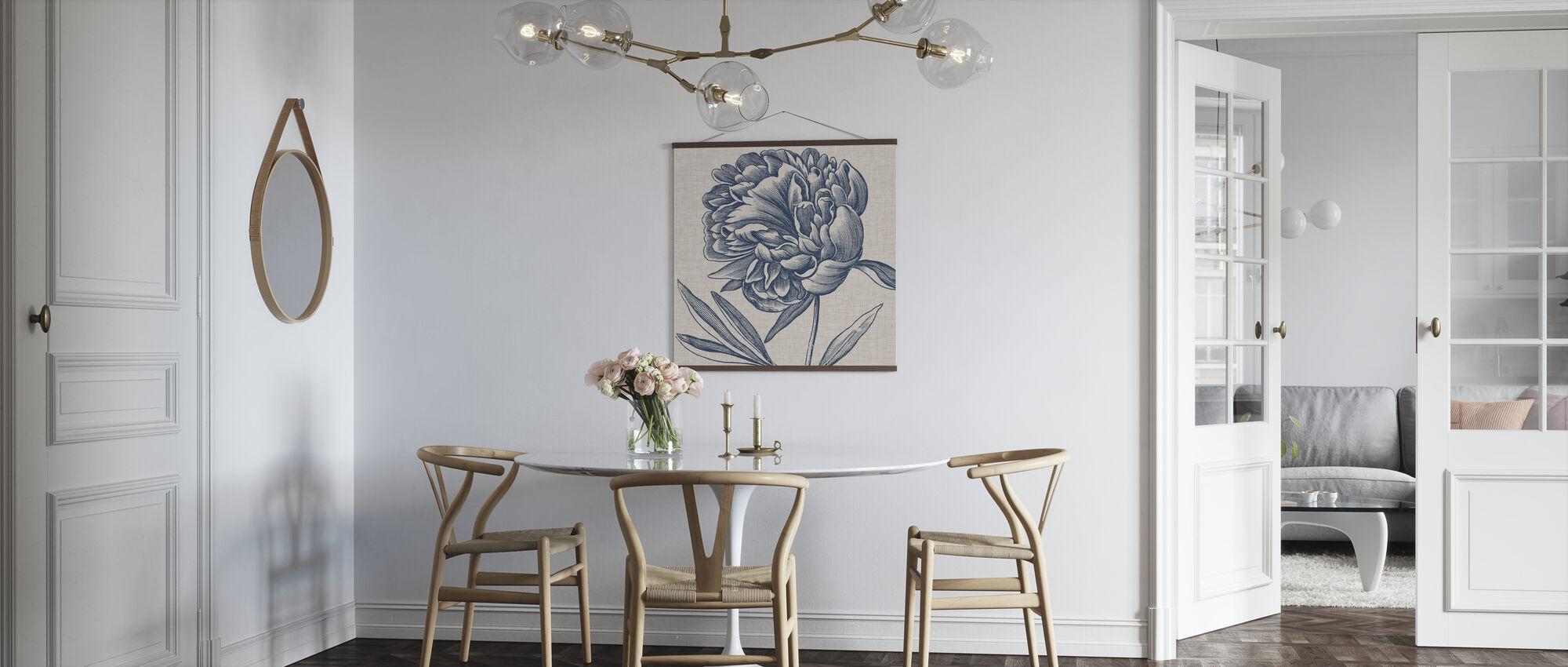 Indigo Floral on Linen II - Poster - Kitchen