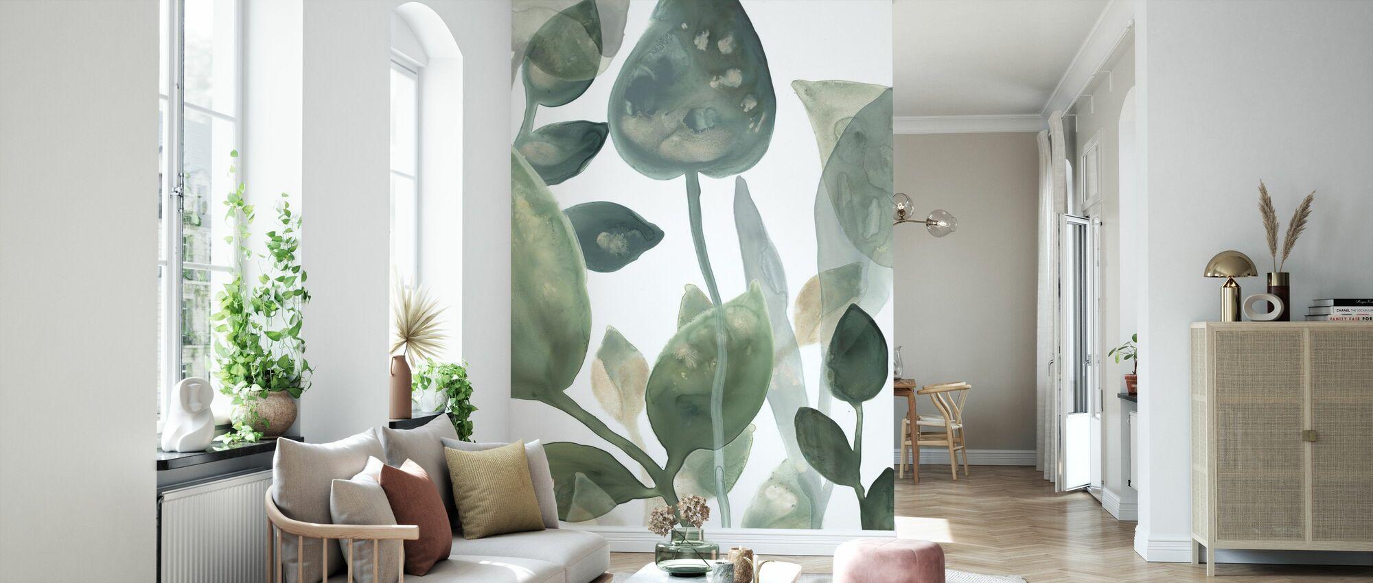 Wasserblätter - Tapete - Wohnzimmer