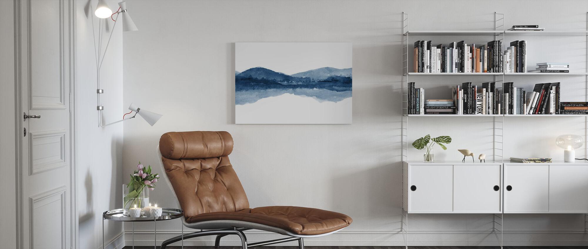 Watercolor Landscape I - Navy Blue - Canvas print - Living Room