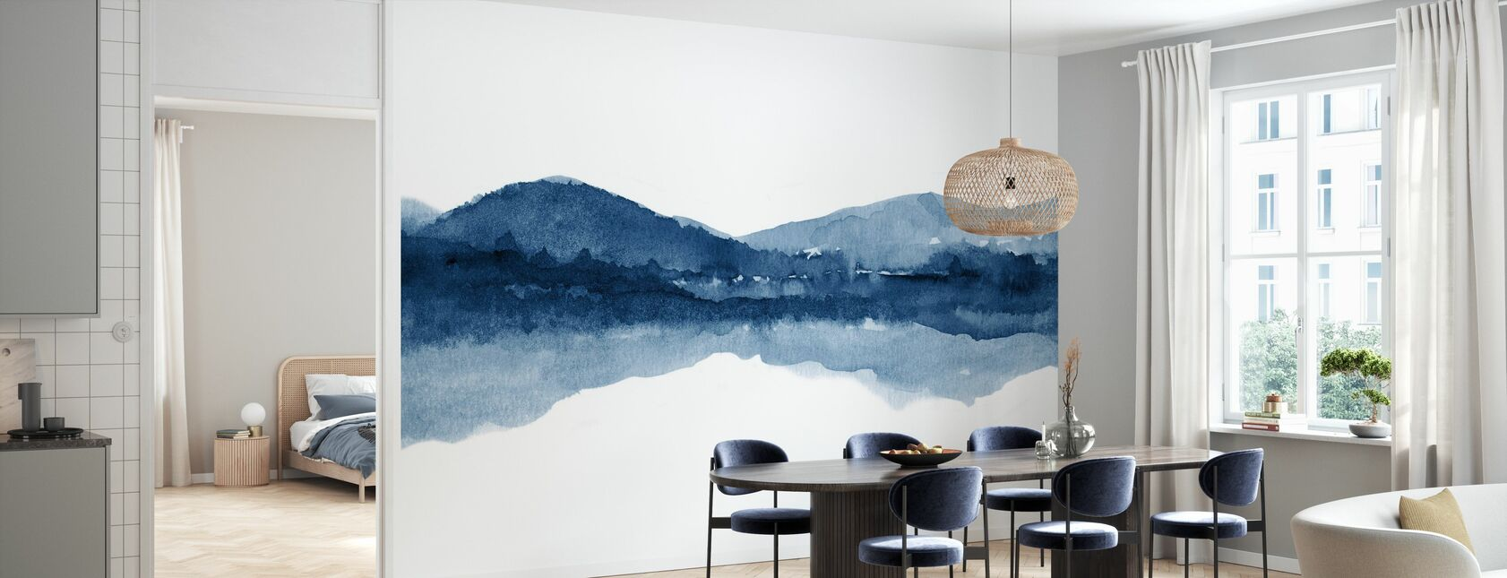Watercolor Landscape I - Navy Blue - Wallpaper - Kitchen