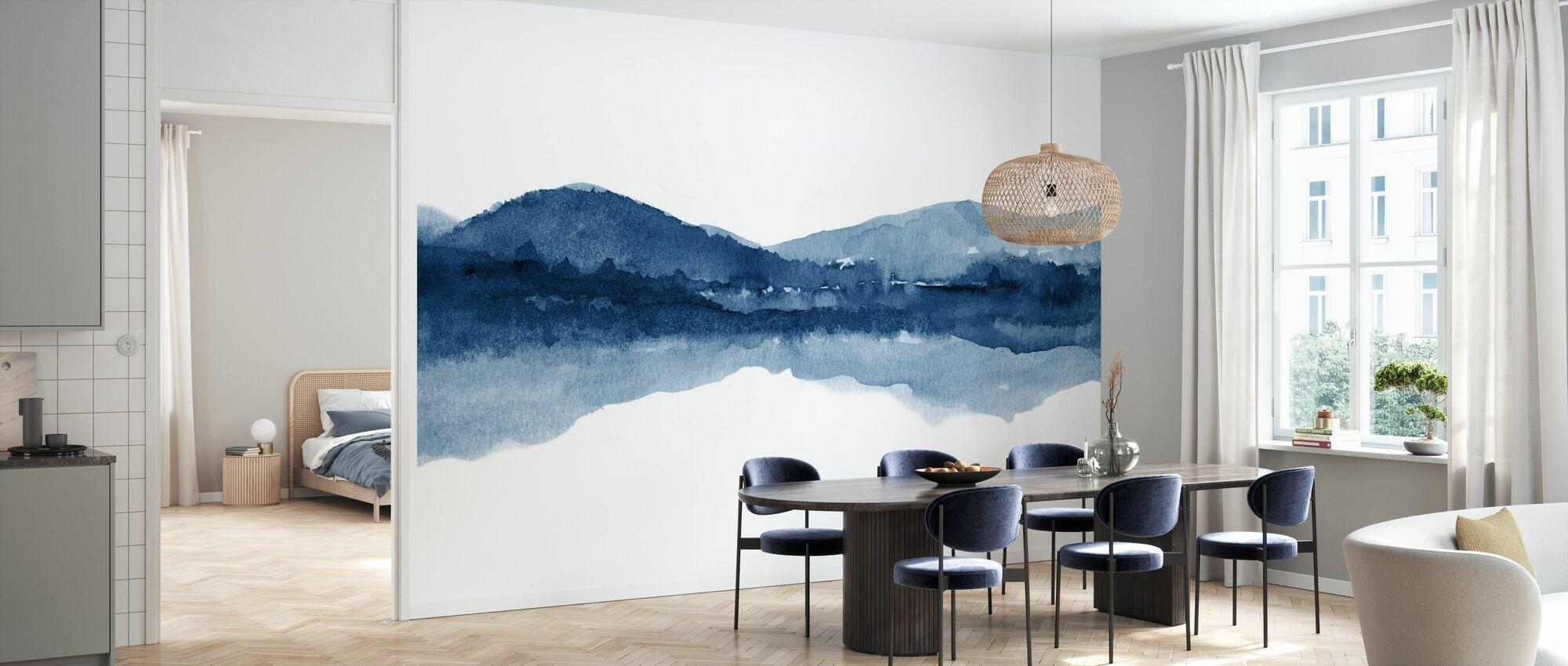 Watercolor Landscape I - Navy Blue - Wallpaper - Kitchen