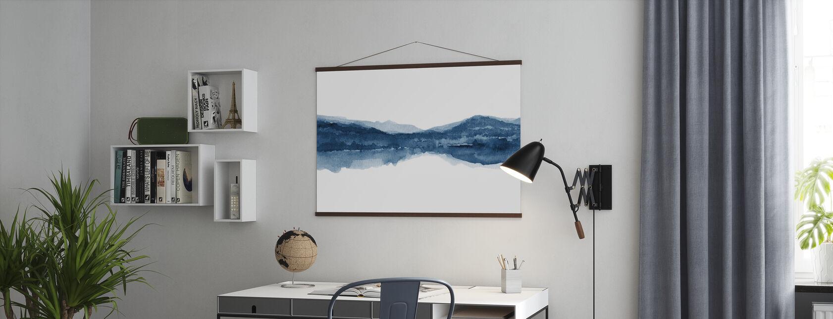 Aquarel Landschap II - Marineblauw - Poster - Kantoor