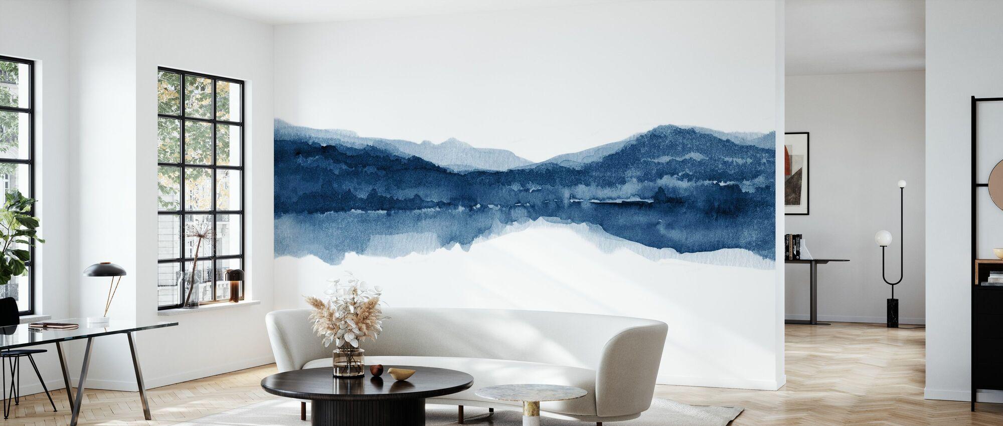 Watercolor Landscape II - Navy Blue - Wallpaper - Living Room