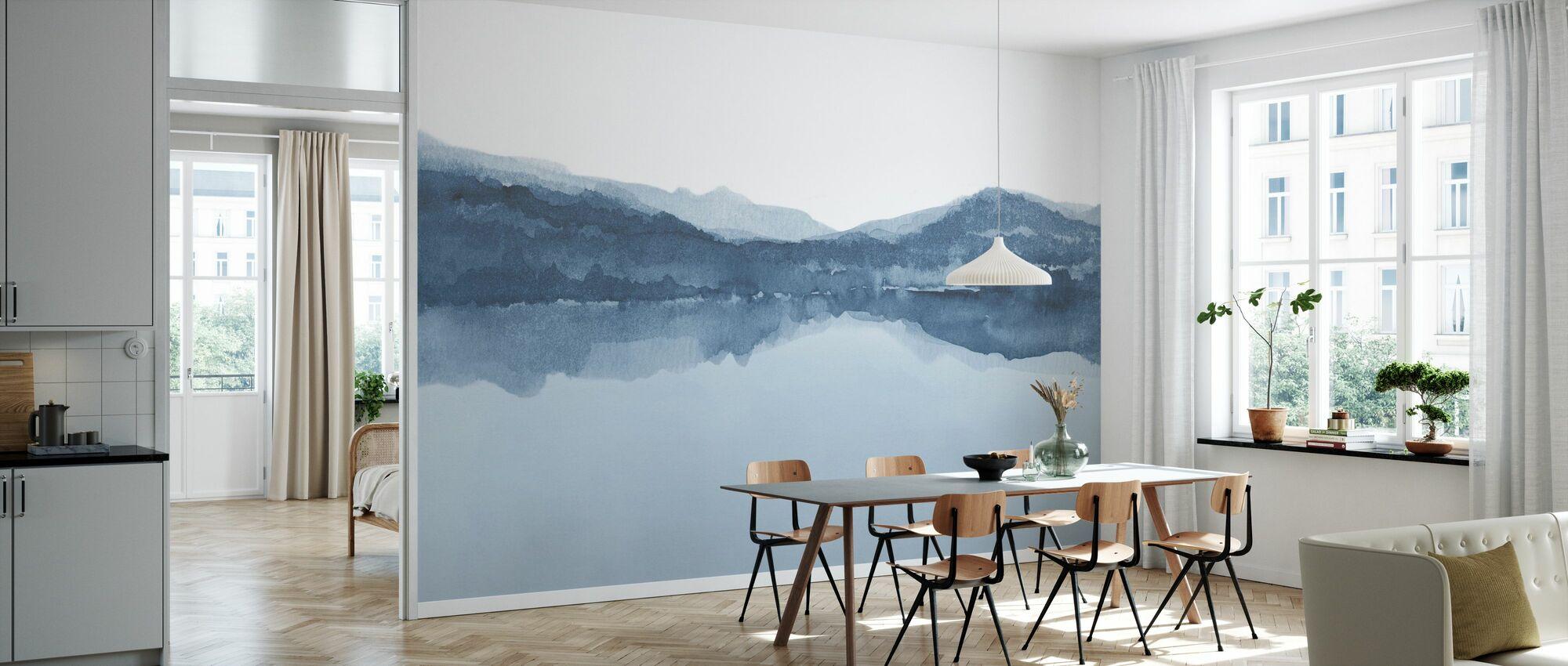 Watercolor Landscape III - Shades of Blue - Wallpaper - Kitchen