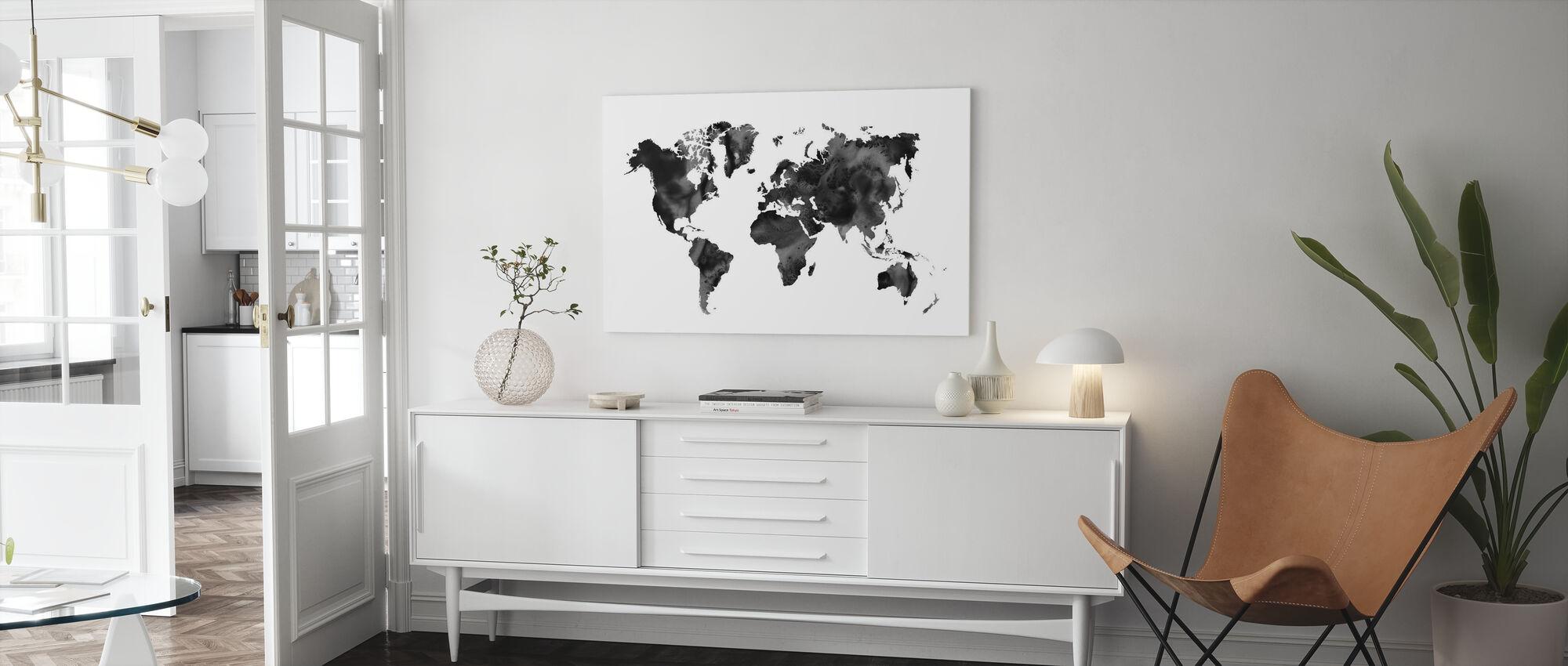 Akvarell verdenskart svart - Lerretsbilde - Stue
