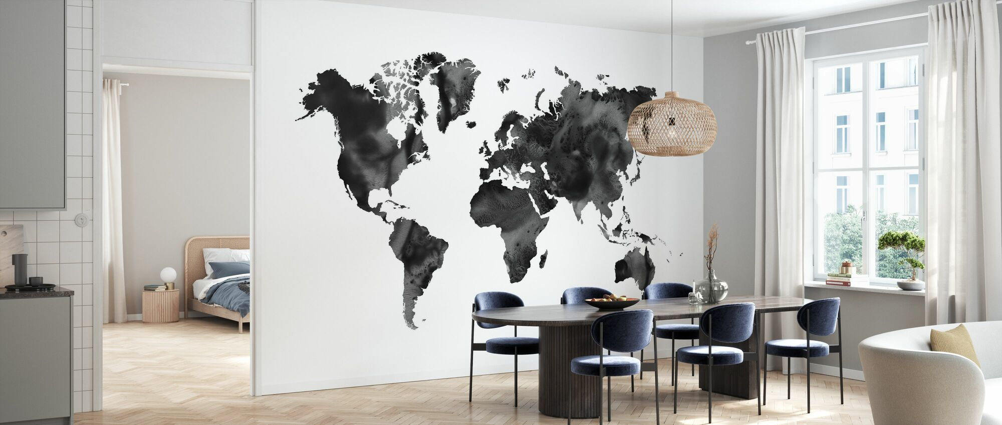 Watercolor World Map Black - Wallpaper - Kitchen