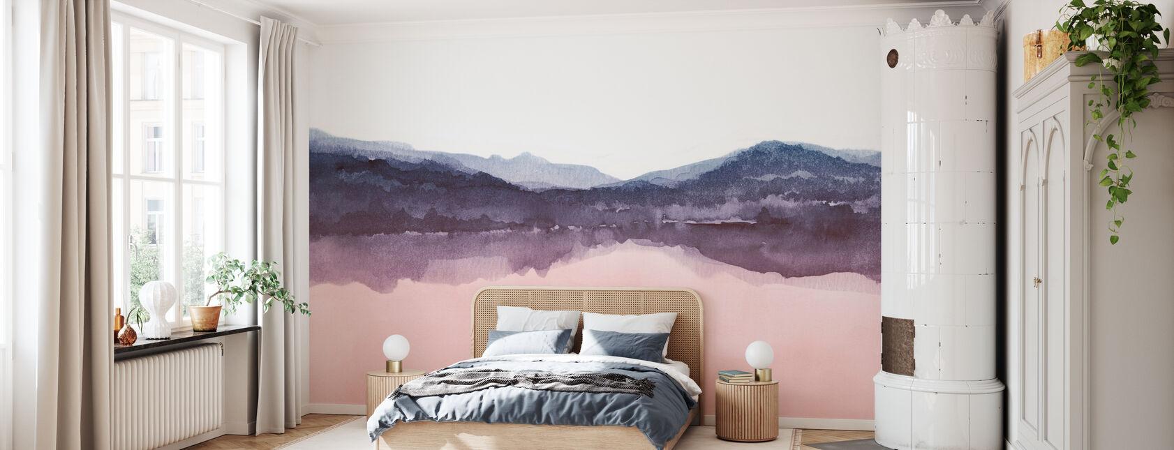 Akvarel Landskab IV - Pink og Blå - Tapet - Soveværelse