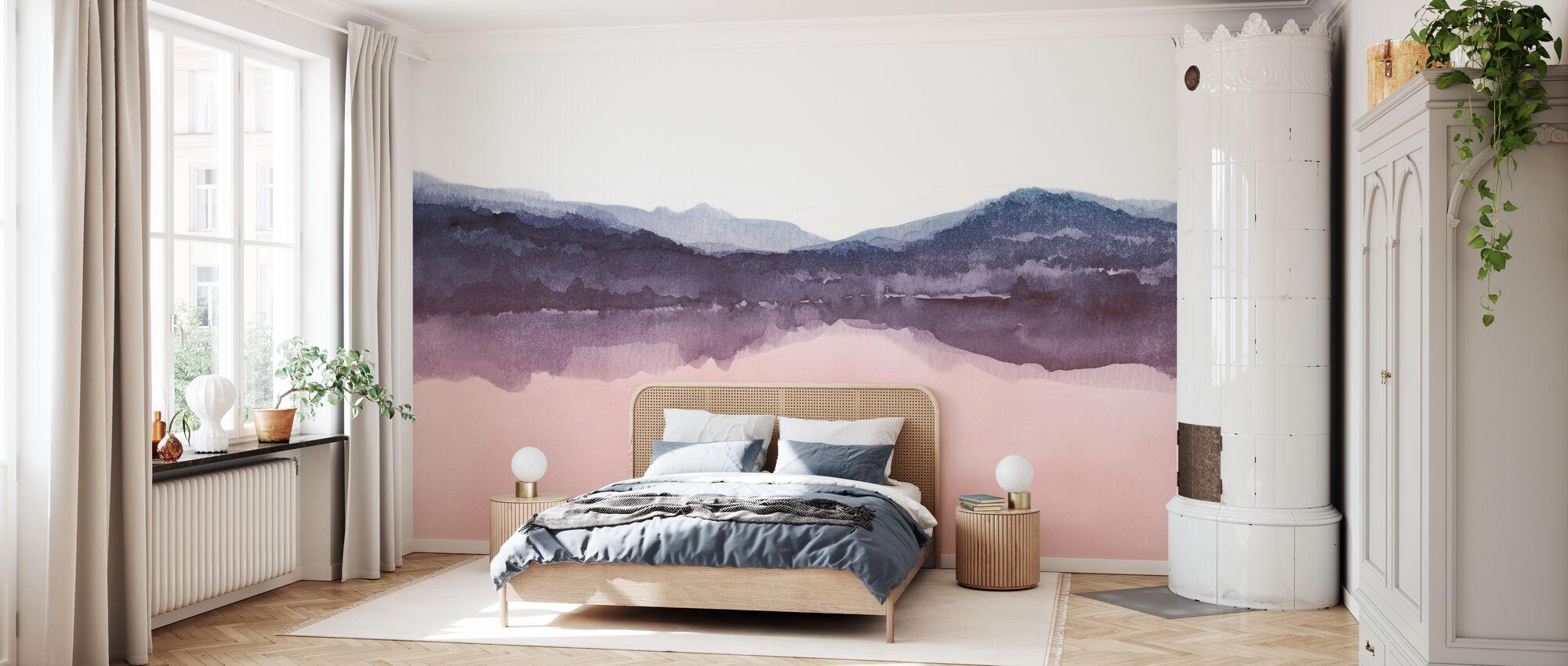 Watercolor Landscape Iv Pink And Blue Kostenlos Gelieferte Fototapete Von Hochster Qualitat Photowall