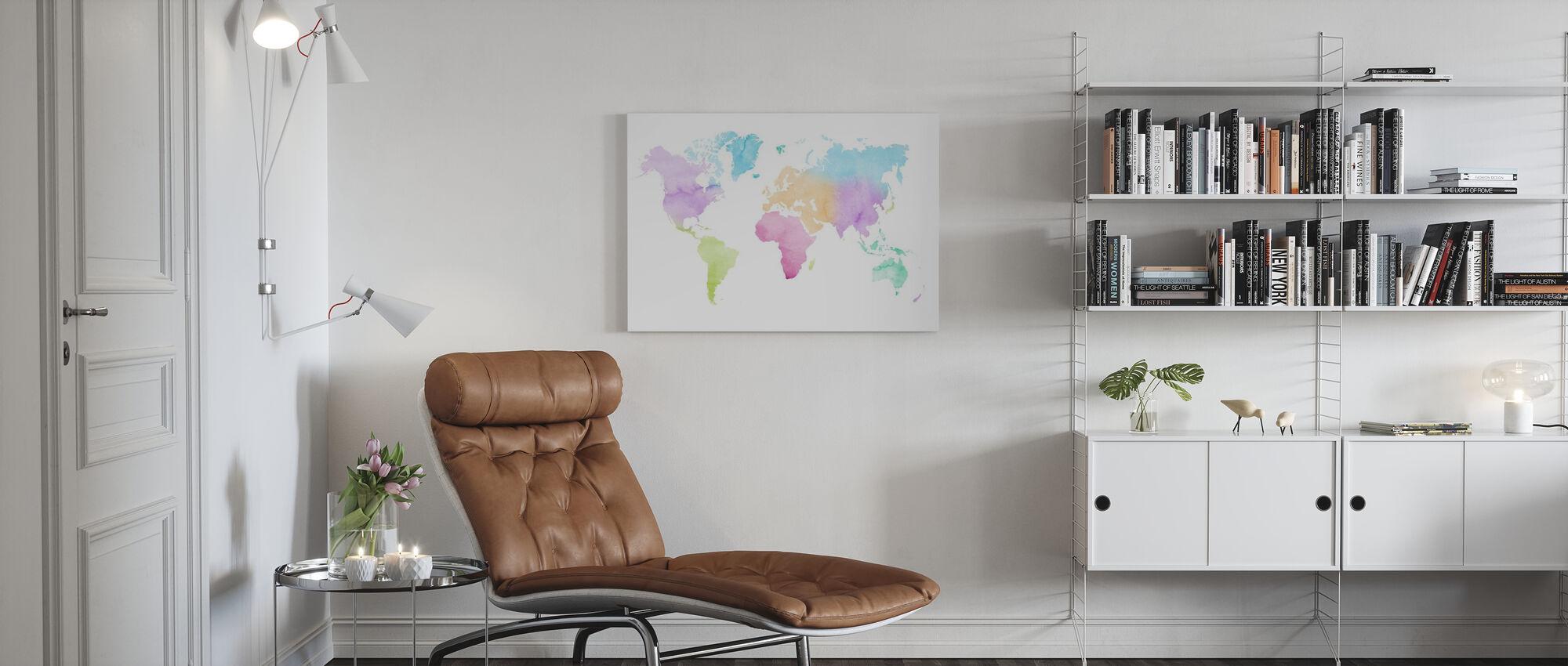 Akvarell verden flerfarget - Lerretsbilde - Stue