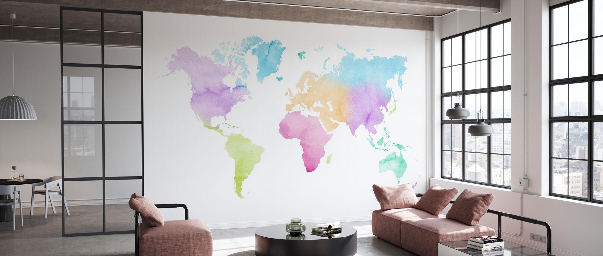 Watercolor World Multicolored - Wallpaper - Office