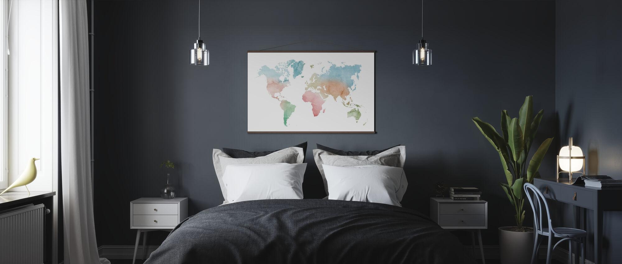 Akvarell verden pastellfarger - Plakat - Soverom