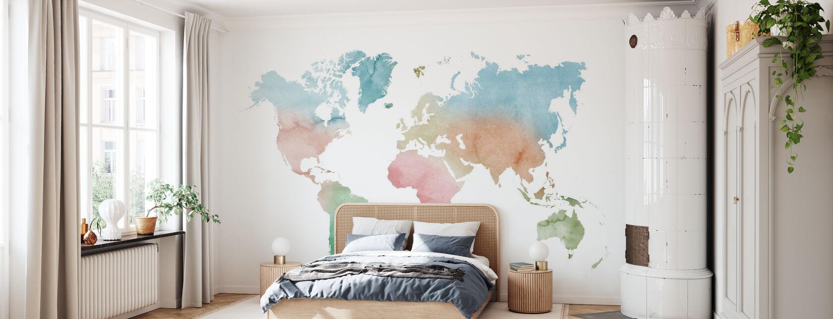 Akvarell verden pastellfarger - Tapet - Soverom