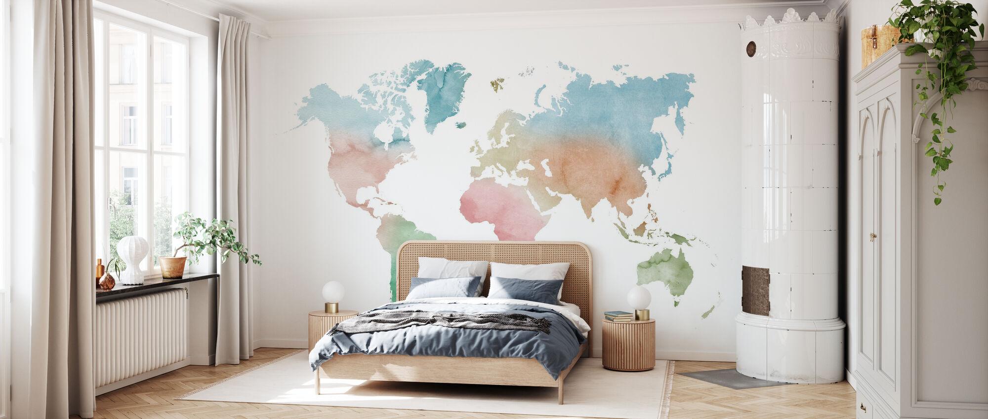 Watercolor World Pastel Colors - Wallpaper - Bedroom