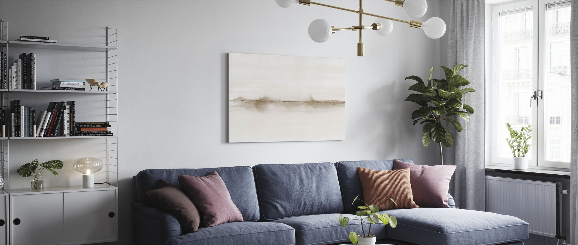 Watercolor Landscape V - Sepia - Canvas print - Living Room