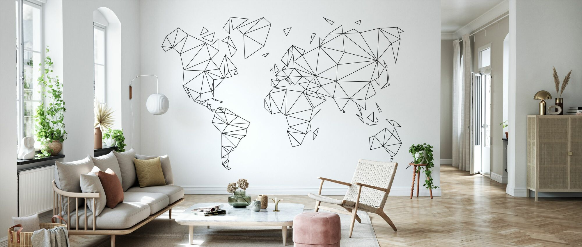 Geometric World Map Black - Wallpaper - Living Room