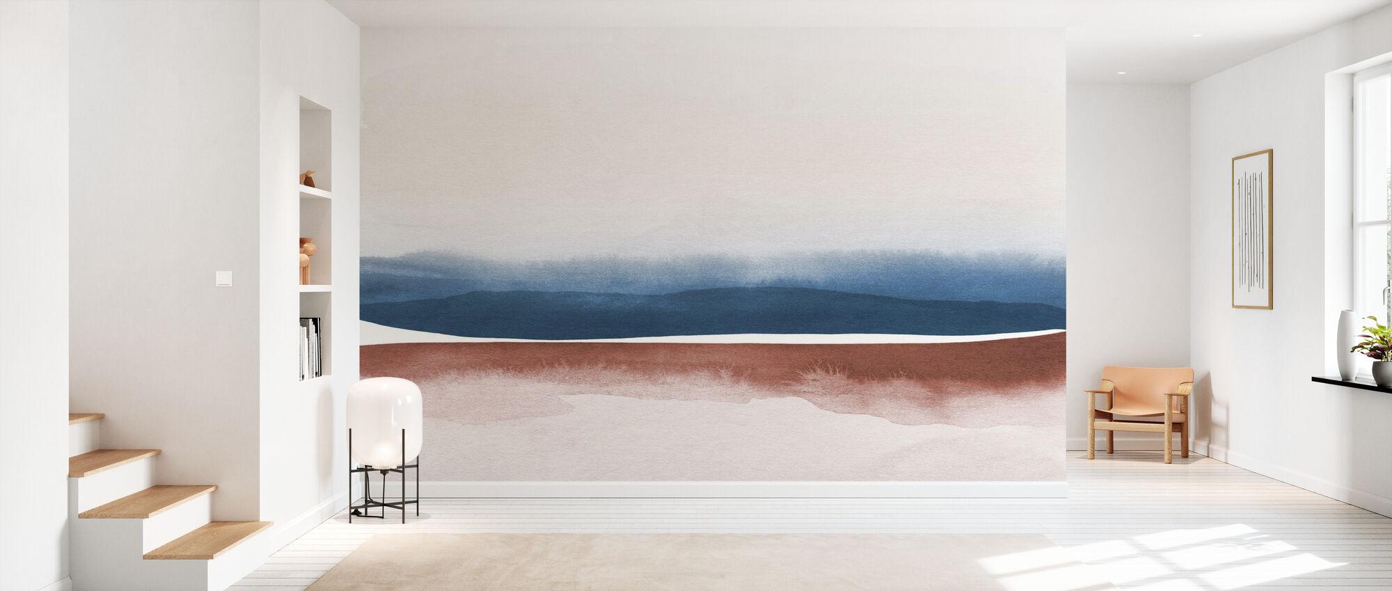 Akvarell landskap VIII - blå og brun - Tapet - Gang