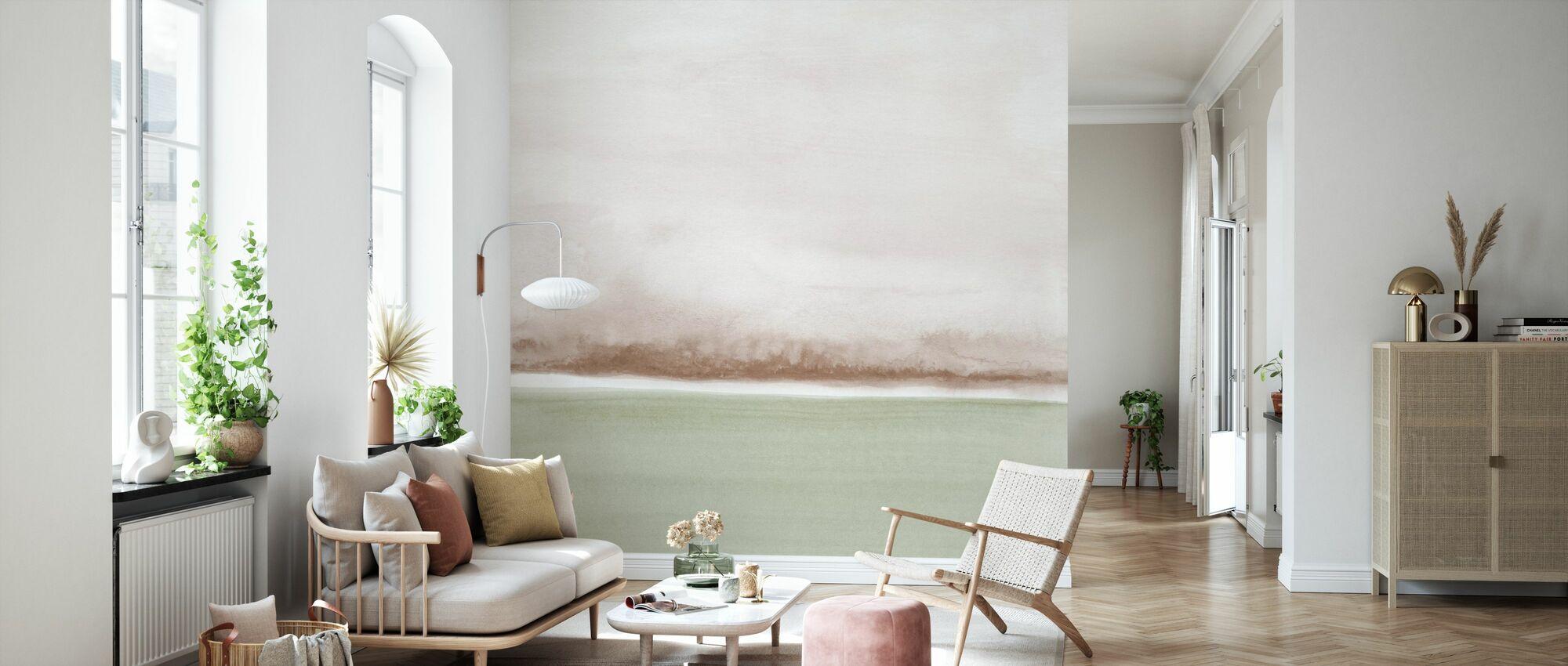Akvarell landskapet IX - myk oliven og Sepia - Tapet - Stue