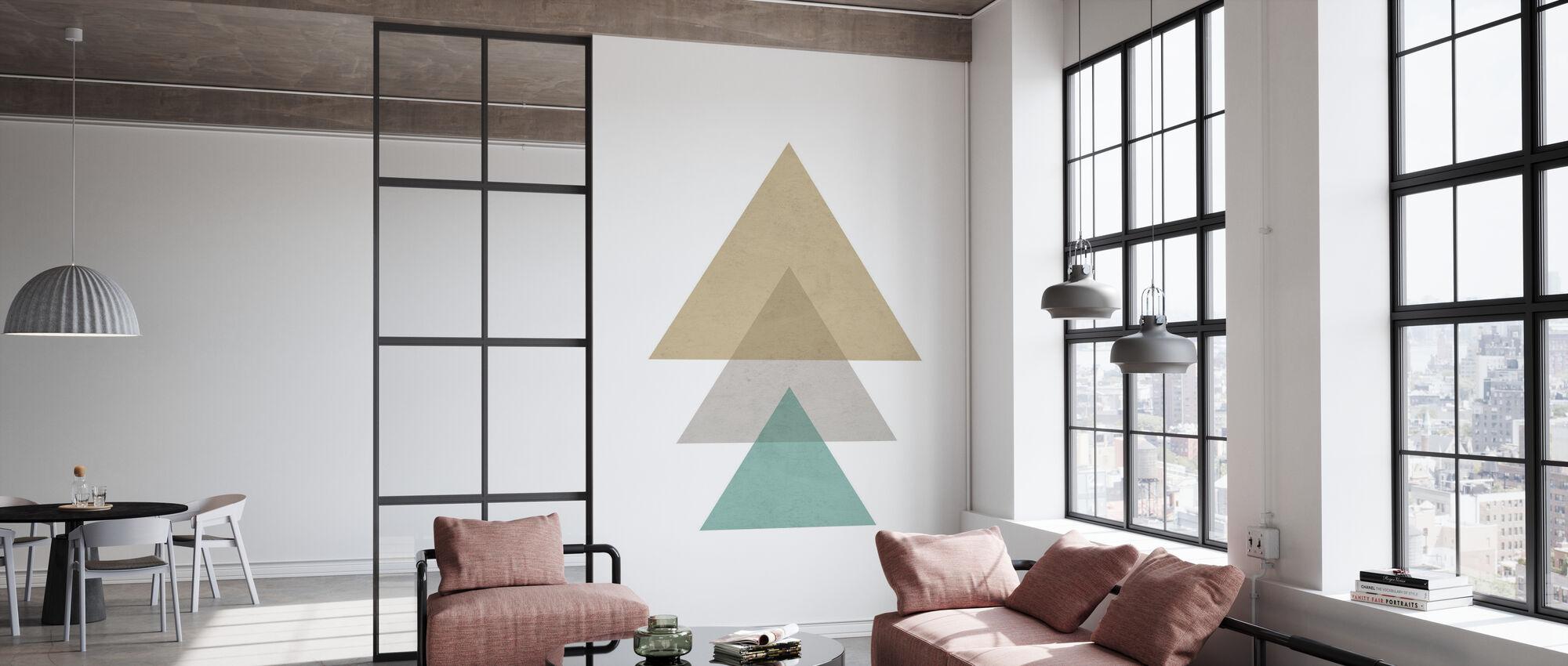 Driehoeken - Aqua - Behang - Kantoor