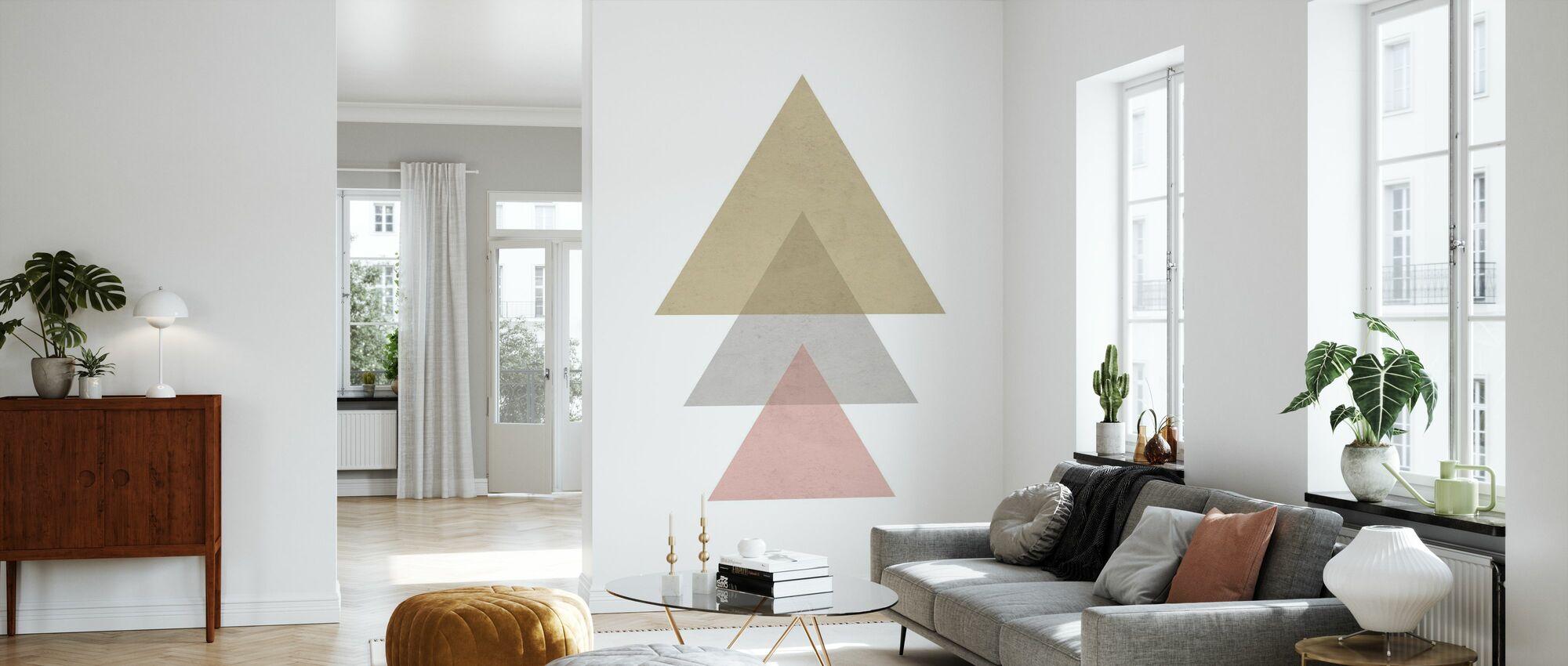 Driehoeken - Roze - Behang - Woonkamer