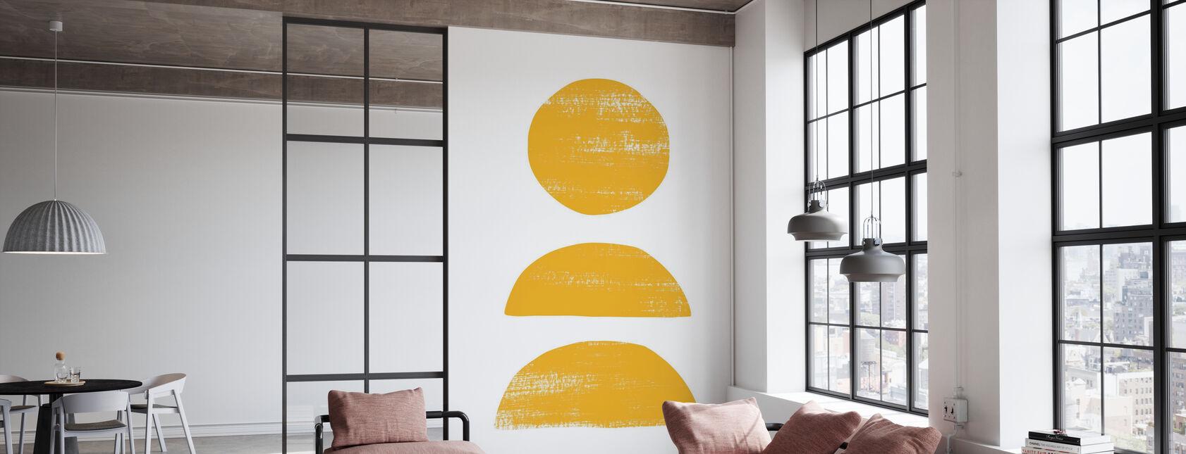 Abstraktio naarmuuntunut keltainen - Tapetti - Toimisto