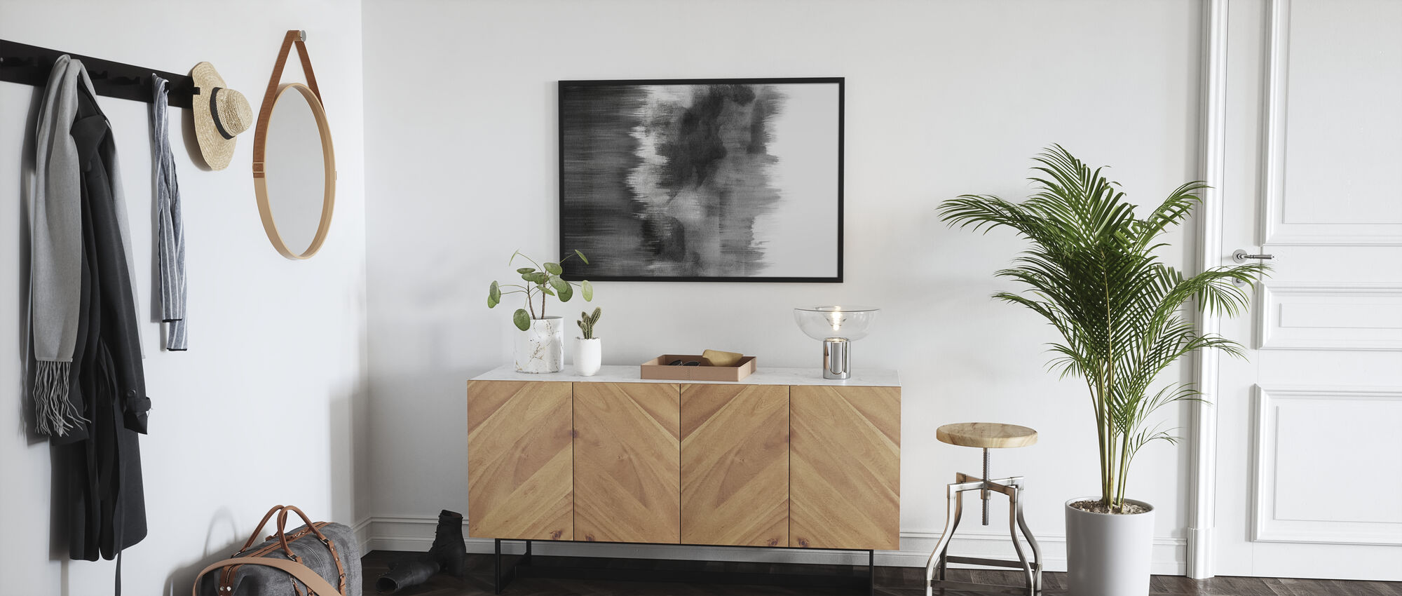 Watercolor Brush Strokes Black - Framed print - Hallway