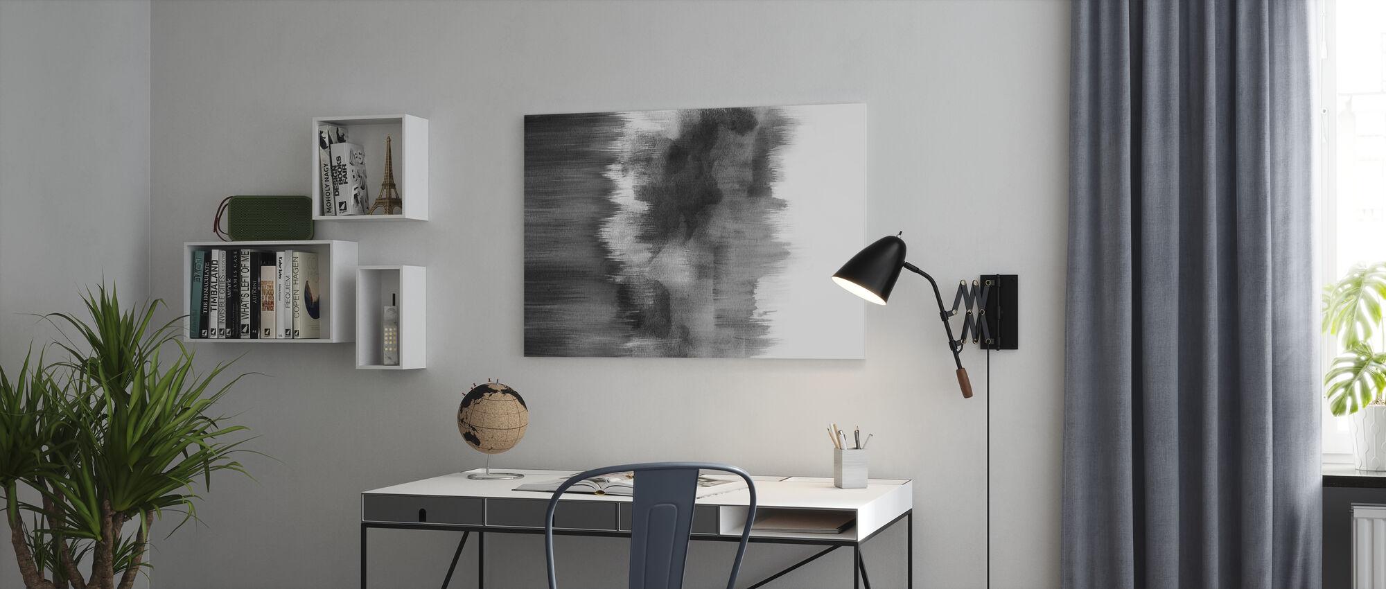 Aquarell Pinselstriche Schwarz - Leinwandbild - Büro